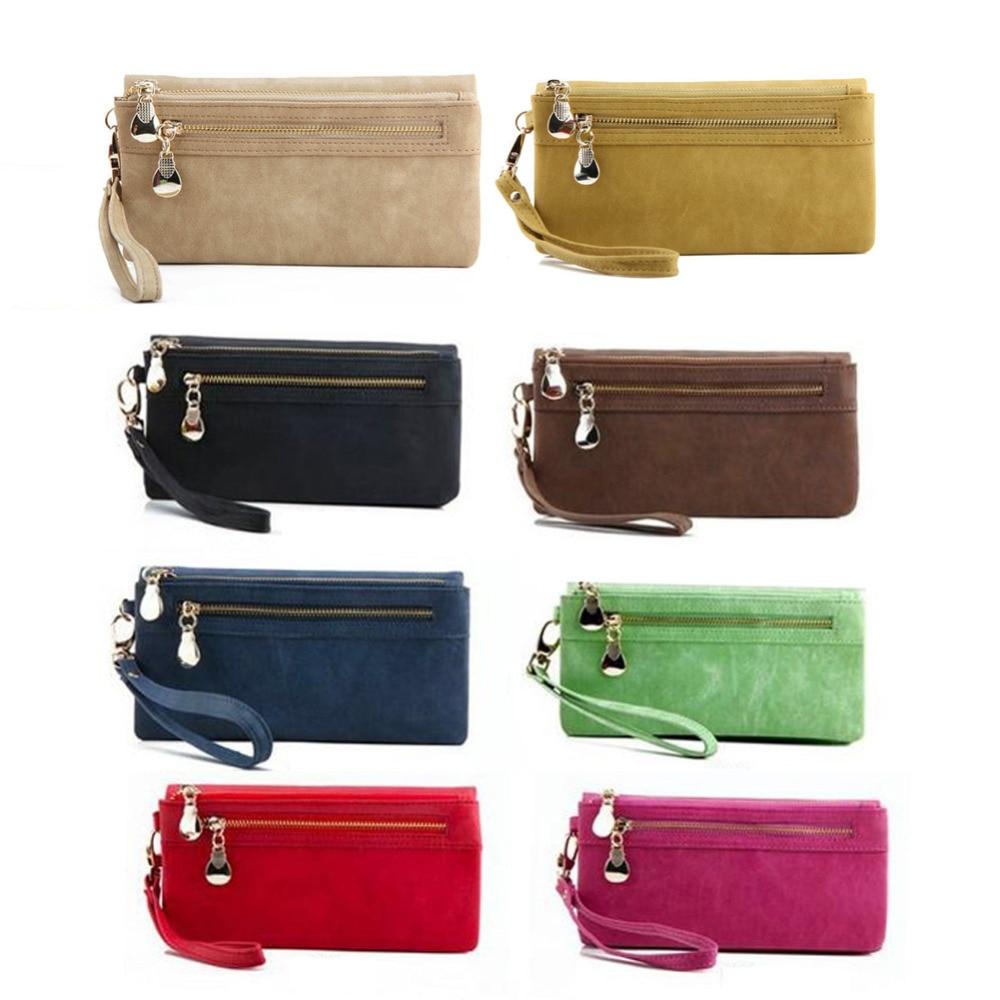 2018 Hot Sale Women Fashion Vintage Double Zipper Dull Polish Leather Long Wallet Handbag Organizer Wallets portefeuille femme