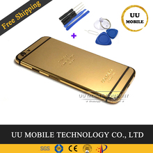 9e472c9883b 100% buena calidad chasis puerta cubierta para iphone 6, 6s, 6 p 6sp 7 7 p  oro de 24 K de la batería marco medio Vivienda + herr.