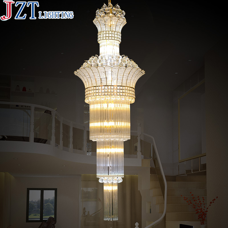 M Modern Minimalist S Gold K9 Crystal Pendant Light LED E14 Bulb Long Hollow Stairs Penthouse Living Room Light Villa Project minimalist s p e w