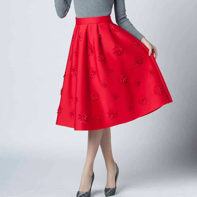 31a061441b SETWIGG Autumn Scuba Puff Pleated Midi Skirt High Waisted Embossing Dobby  Floral Elegant A line Medium Long Skirts SG77-in Skirts from Women's  Clothing on ...