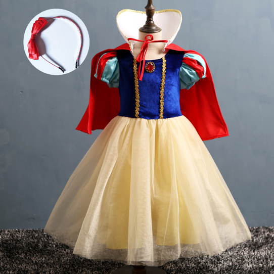 Short Sleeve Princess Gifts for 2 3 4 5 6 7 8 9 10 Year Old Girls for Kids Snow White Childrens Costumes Birthday Cosplay Outfit