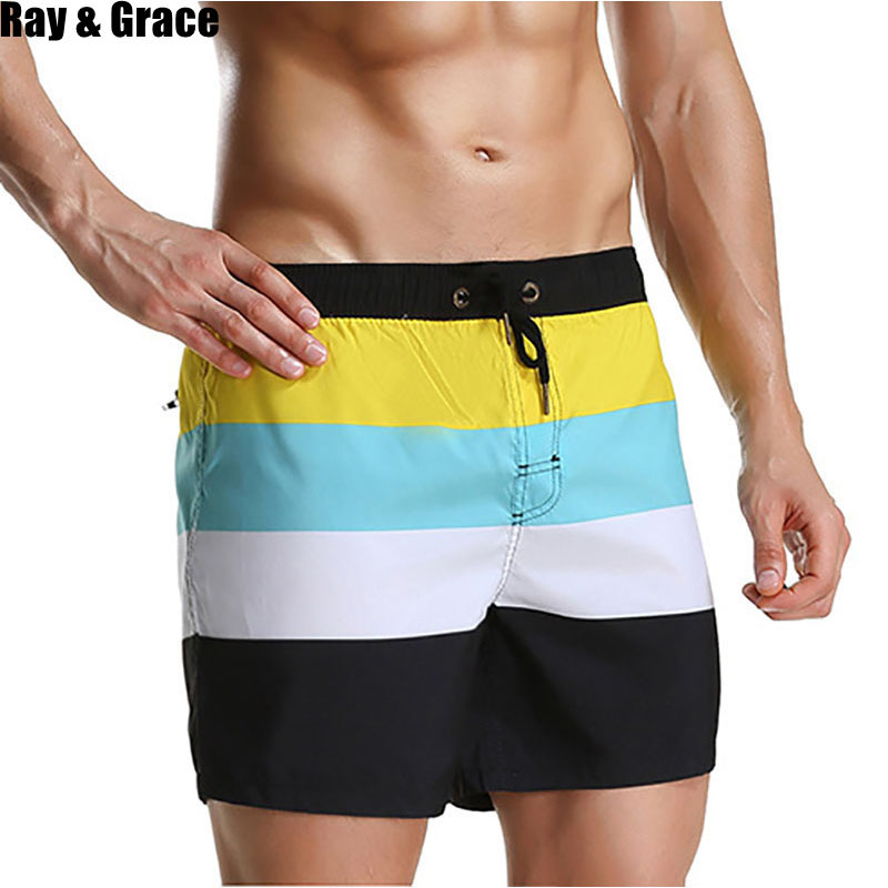 RAY GRACE Summer Men Surfing Beach   Shorts   Men Quick Dry   Board     Shorts   Running Jogging Swim Breathable Beachwear Men's Clothing