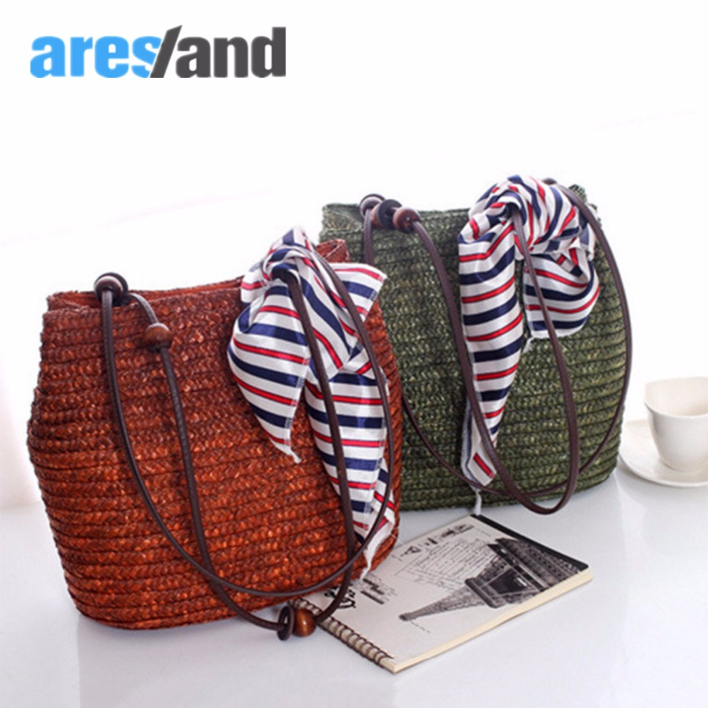 цена на Aresland Women summer beach bags Ladies handbags large tote bag Straw shoulder Bags Decoration Bolsas Femininas 2018 Wheatgrass