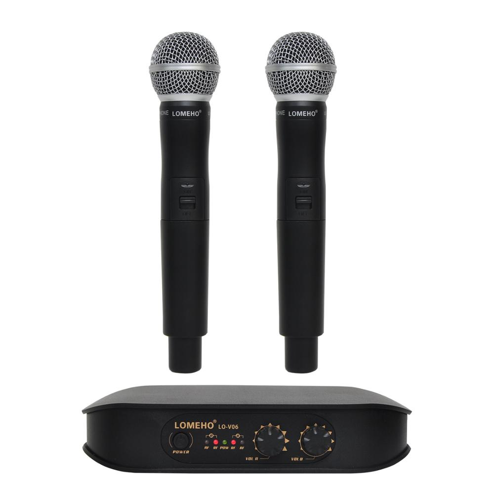 все цены на Lomeho LO-V06 Dual Handheld VHF Frequencies Dynamic Capsule 2 channels Wireless Microphone for Karaoke System