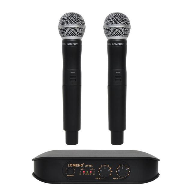 Lomeho LO V06 Dual Handheld VHF Frequenzen Dynamische Kapsel 2 kanäle Drahtlose Mikrofon für Karaoke System