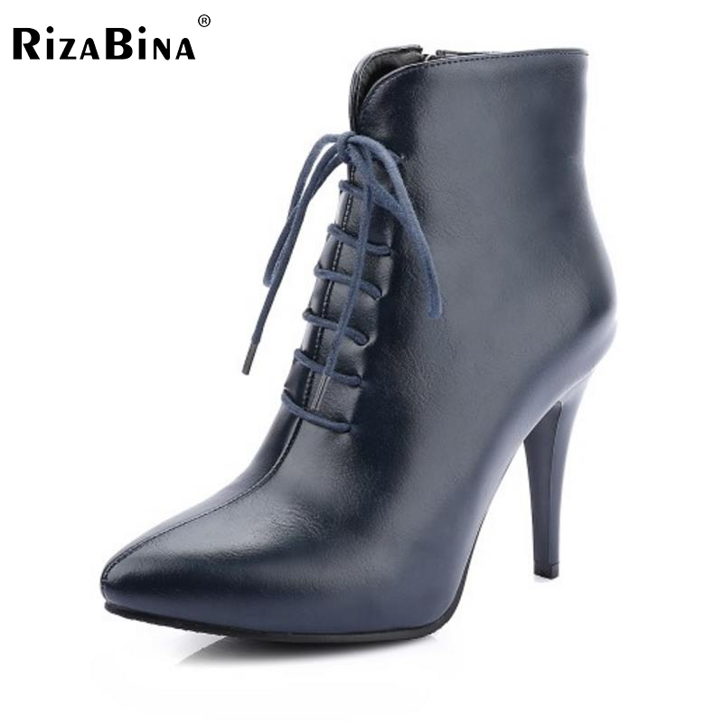 RizaBina Mature Women Ankle Boots Cool Pointed Toe Thin High Heels Shoes Woman Spring Autumn Less Platform Botas Mujer Size32-48 brand rivets patchwork ankle boots hidden wedges platform martin boots high heels pointed toe spring autumn boots zapatos mujer