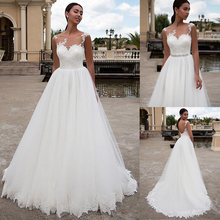 Chic Tulle Scoop Neckline A line Wedding Dress With Belt & Lace Appliques Sleeveless White Bridal Dress cash on delivery