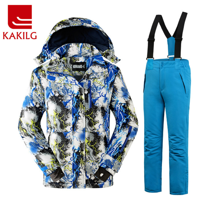 KAKILG Outdoor Winter Children Ski Suit Skiing Jackets Set Girls Sports Waterproof Suit Boys Thickening Warm Set Jackets + Pants detector girl winter windproof ski jackets pants outdoor children clothing set kids snow sets warm skiing suit for boys girls