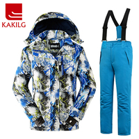 KAKILG Outdoor Winter Children Ski Suit Skiing Jackets Set Girls Sports Waterproof Suit Boys Thickening Warm