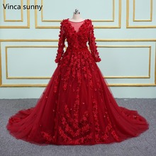Vinca Sunny Red Wedding Dresses 2020 Scoop Neck Sheer Back 3d Flowers Wedding Gown Princess Ball Gown Bridal Gowns casamento