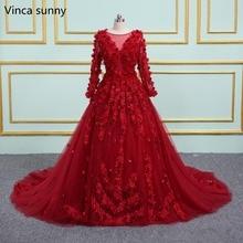 Vinca Sunny vestido de novia rojo con cuello redondo y espalda transparente, 3d, flores, para fiesta de princesa, boda, 2020