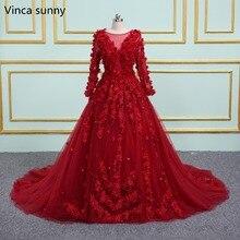 Vinca ensolarado vermelho vestidos de casamento 2020 colher pescoço sheer voltar 3d flores vestido de casamento princesa vestido de baile vestidos de noiva casamento