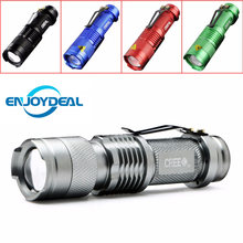 5 Colors Mini LED Flashlight CREE Q5 2000lm Waterproof LED Laterna 1 Modes Zoomable PortableTorch penlight AA 14500