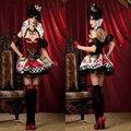 Новый Королева Сердца костюм Косплей fancy dress sexy делюкс королева сердца костюм Женский королева halloween Party Платья для женщины