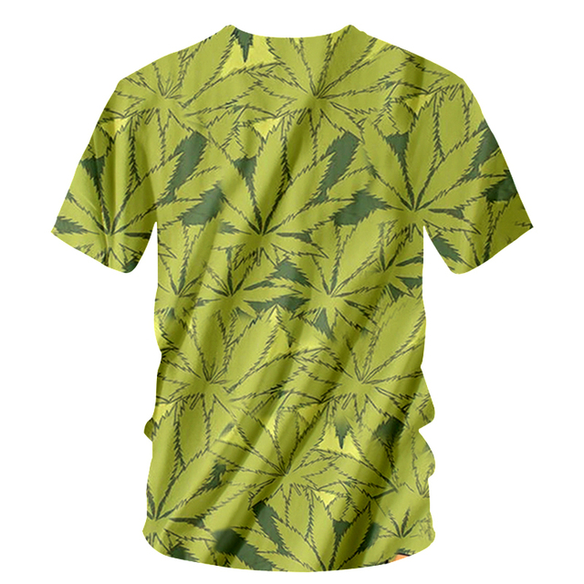 Harajuku Style Green Hemp Leaf Spit T-shirt