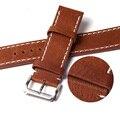 100% Натуральная Кожа Ремешок 20 мм 22 мм Смотреть Band Браун Ремешок Для Часов Часы Ремешок Ремешок Из Нержавеющей Стали Застежка Buckel пояс