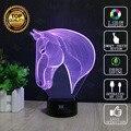 Cabeza de caballo 3d novelty lámpara usb luz de la noche decoración del hogar luces led que brilla intensamente colorido hui yuan marca del regalo del niño