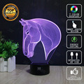Horse head 3D Lamp USB Novelty Night Light Home Decoration Lights LED Colorful Glowing Child's Gift HUI YUAN Brand