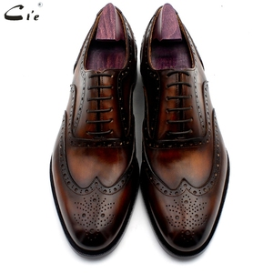Image 5 - cie oxford patina brown brogues dress shoe genuine calf leather outsole men leather work shoe handmade quick delivery No. 20311