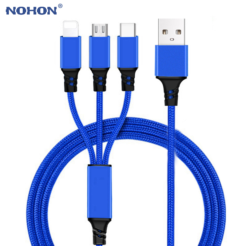 Type C Micro USB 8 Pin 3 in 1 Charging Cable For iPhone 6 6s 7 8 Plus 11 Pro Xs Max X XR Samsung Huawei Xiaomi Android Wire Cord|Mobile Phone Cables|   - AliExpress