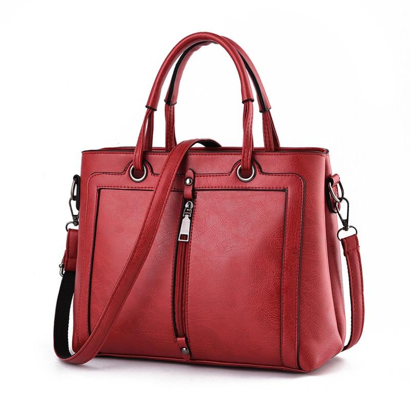 Occident Style Retro Front Zipper Hand Bag Women Simple PU Leather font b Handbag b font