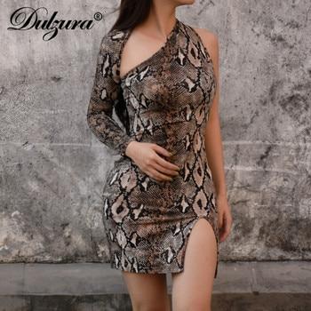 Dulzura 2019 spring summer women dresses snake print long sleeve one shoulder bodycon sexy party dress club festival vestidos