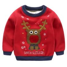 2-7T Winter Children Kids Boys Girls Cloths Christmas Sweater Baby Elk Print Thick Sweatshirts For Girls Christmas Kids Hoodies