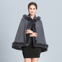 Winter Fur Coat 2018 Women Fashion Knitted Faux Fur Ponchos Hooded Thick Warm Fur Capes
