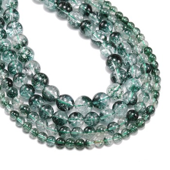1strand/lot 6 8 10 12 mm Natural Green Crystal Stone Beads Green Ghost Crack Phantom Loose Beads For Jewelry Making DIY Bracelet 1strand lot 4 6 8 10 12 mm natural stone old blue sodalite round loose spacer beads for jewelry making diy bracelet wholesale
