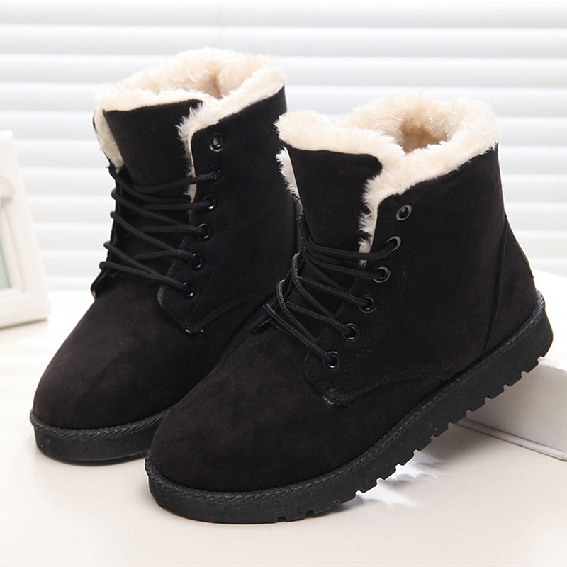 Women Boots Winter Shoes Female Plush Inside Snow Boots High Quality Flock Ankle Boots Lace Up Flats Women Shoes Botas Fashion designer women winter ankle boots female fur lace up snow boots suede plush sewing botas