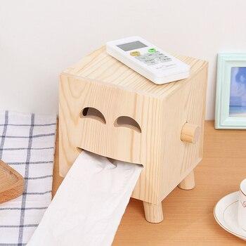 A1 Hause massivholz rolle tablett smiley holz zeichnung box wohnzimmer desktop tissue box LO531144