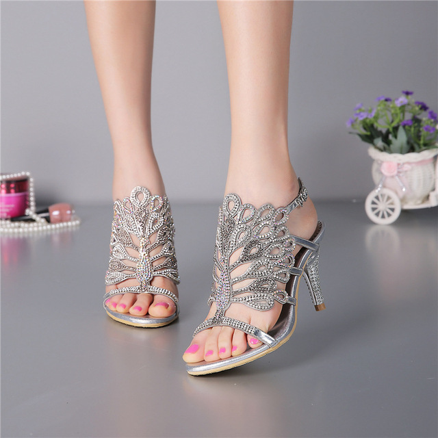 9a7178f4c Women's Summer Fashion Diamond Silver High-heeled 8cm Stiletto Sandals  Female Luxury Shoes Sale Online US11