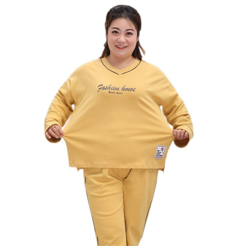 Plus size 135kg 5XL Korea cute pajamas sets for women casual 100 cotton women sleepwear Long