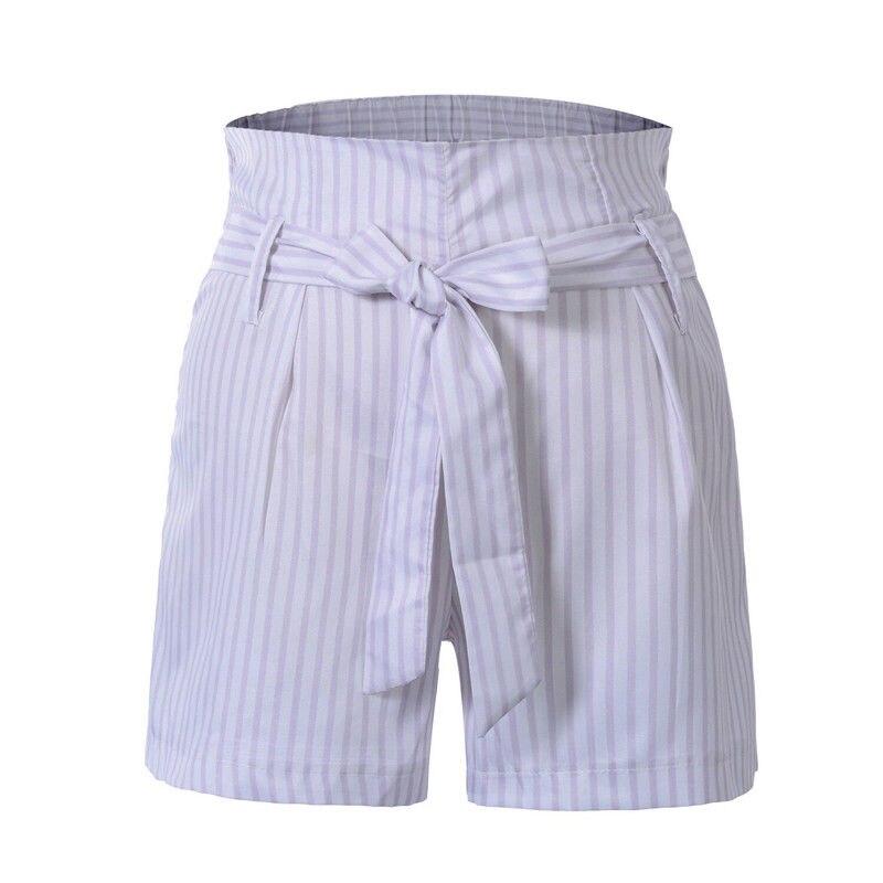 Shorts  Summer Womens Stripe High  Elastic Waist Casual Skinny Trousers 2020 Sashes Shorts