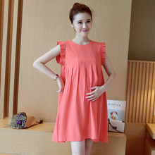 Summer Expectant Mother Casual Dresses Short Sleeve Bowknot Maternity Dress Pleated Red Dress for Pregnant Women