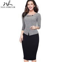 Nice forever vestido formal feminino, modelado, elegante, vintage, de retalhos, formal, para negócios e festa, para escritório, b500