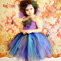 Keenomommy Princess Girls Peacock Feather Tutu Dress Photo Prop Halloween Costume Baby Kids Birthday Party Dress
