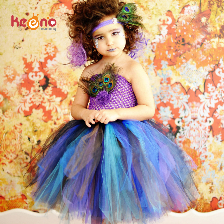 Keenomommy Princess Girls Peacock Feather Tutu Dress Photo Prop Halloween Costume Baby Kids Birthday Party Dress TS131 princess girls peacock tutu dress