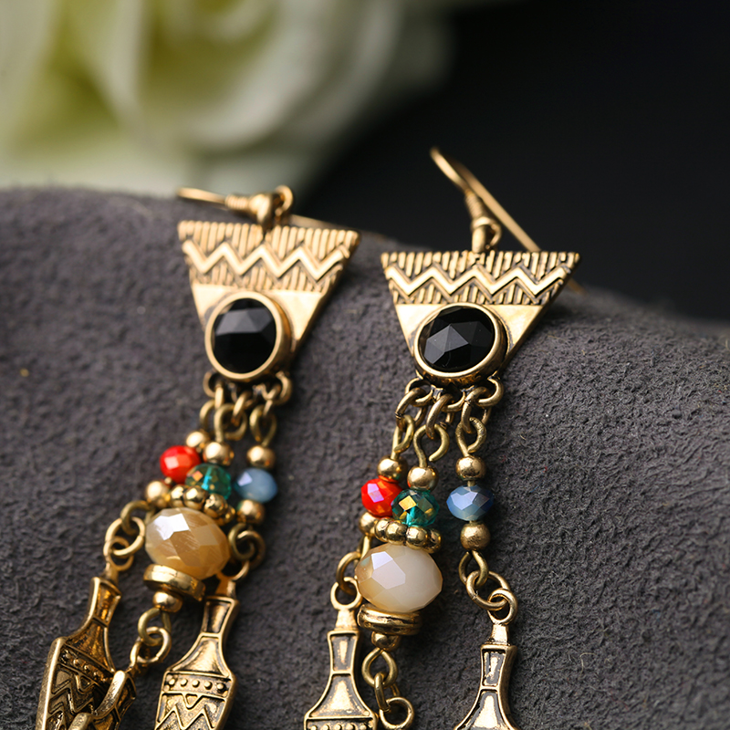 Mode Vintage Nieten Anhänger Lange Kronleuchter Ethnische Ohrringe ...