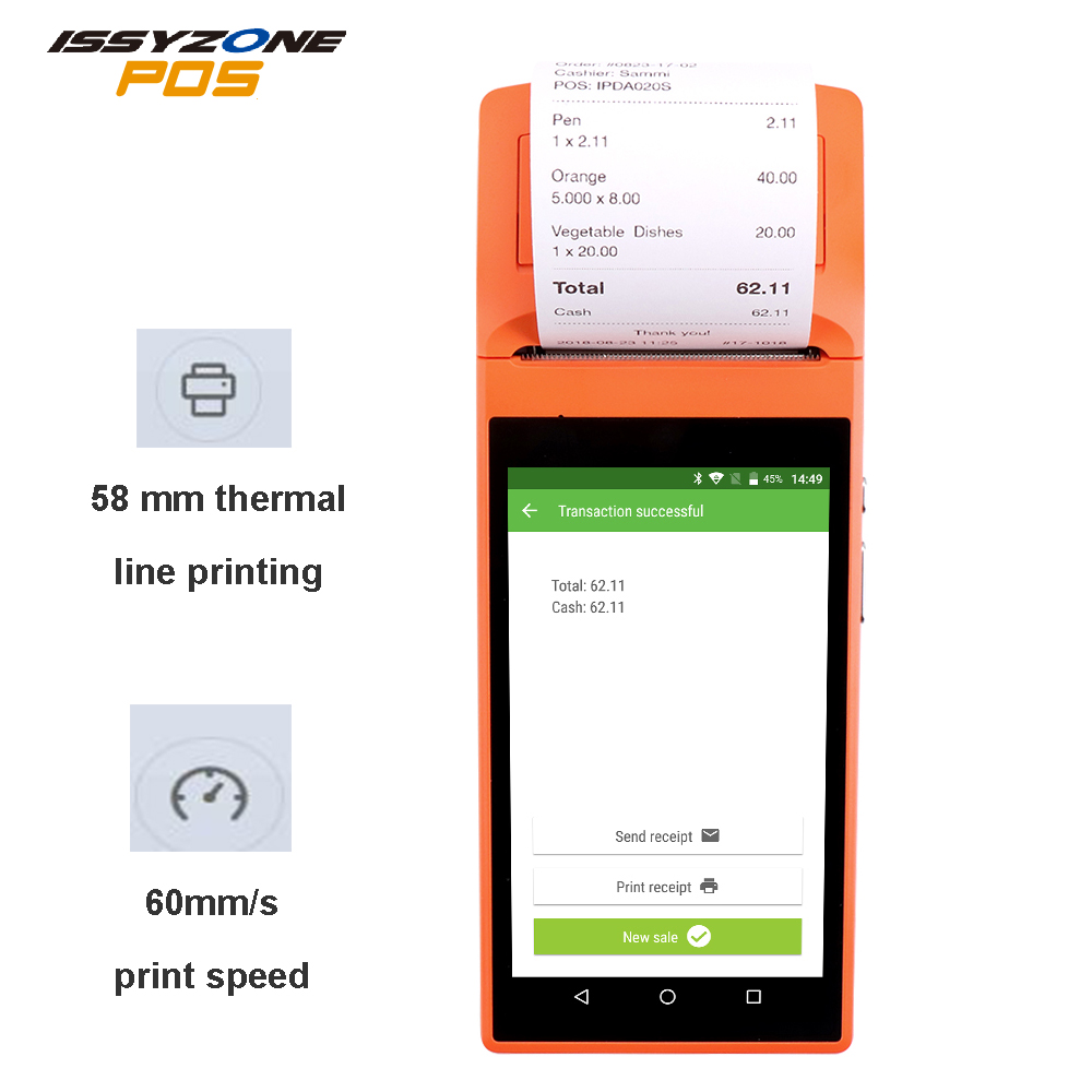 Issyzonepos Android 6 0 POS Sunmi V1s Terminal Handled PDA 3G WiFi Bluetooth Printer Print Order