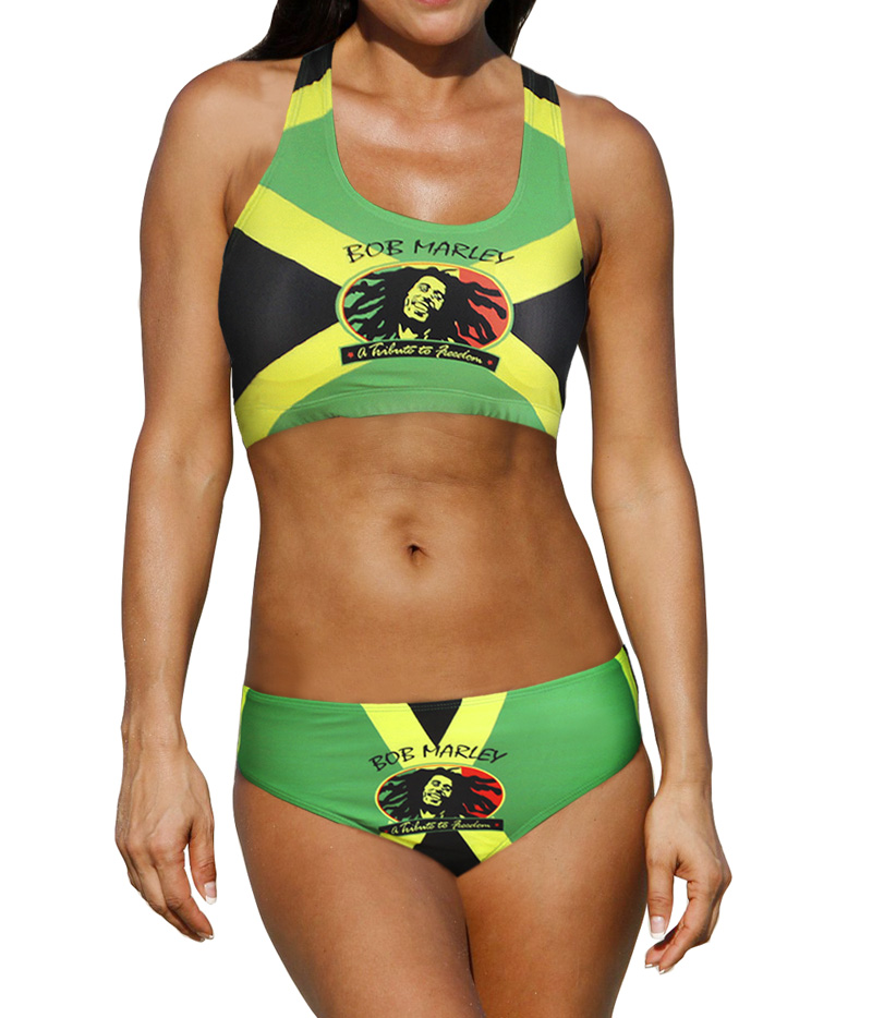 Sexy Caribbean Jamaica flag Rasta Two Piece Bikini SWIMSUIT SWIMWEAR size S M L XL XXL sweet spaghetti strap solid color two piece swimsuit for women