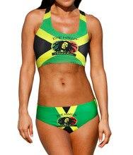 Sexy Caribbean Jamaica flag Rasta Two Piece Bikini SWIMSUIT SWIMWEAR size S M L XL XXL women s sexy strapless sequins bikini swimwear deep pink size m
