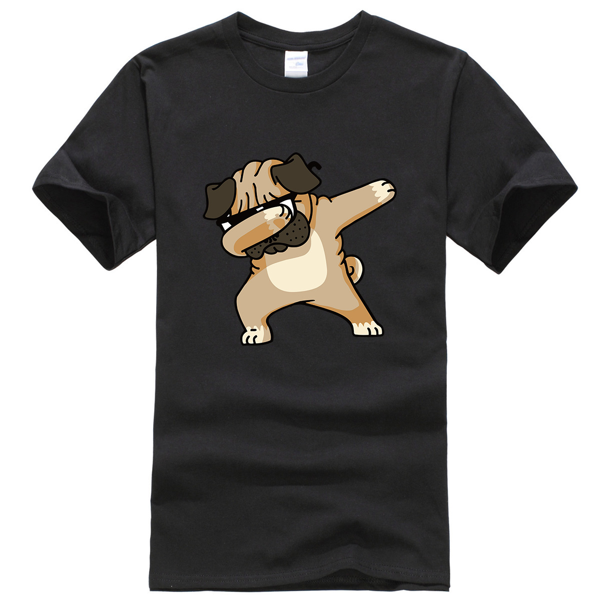 DABBING PUG Fashion Top New 2019 Summer T-shirt Cartoon Animal DOG T Shirt Men Funny Hip Hop Tops Shirts Harajuku Men's T-shirts