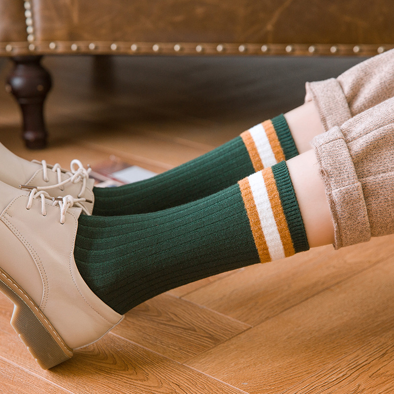 Jeseca College Style School Students Short Socks 2019 Autumn Winter Warm New Fashion Women Vintage Sock Female Stripe Leg Sox