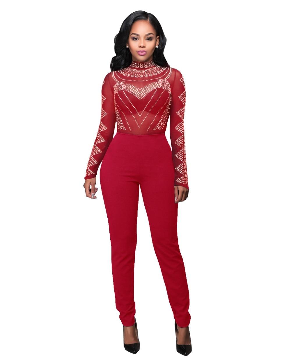 Women Mesh Printed Club Jumpsuits See Through Long Sleeve ...