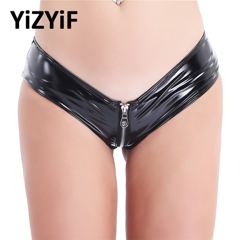 Womens Bikini bottom Sexy Lingerie Shiny Patent Leather Zipper Crotch Low Rise Briefs Underwear Underpants swimsuit thong bikini