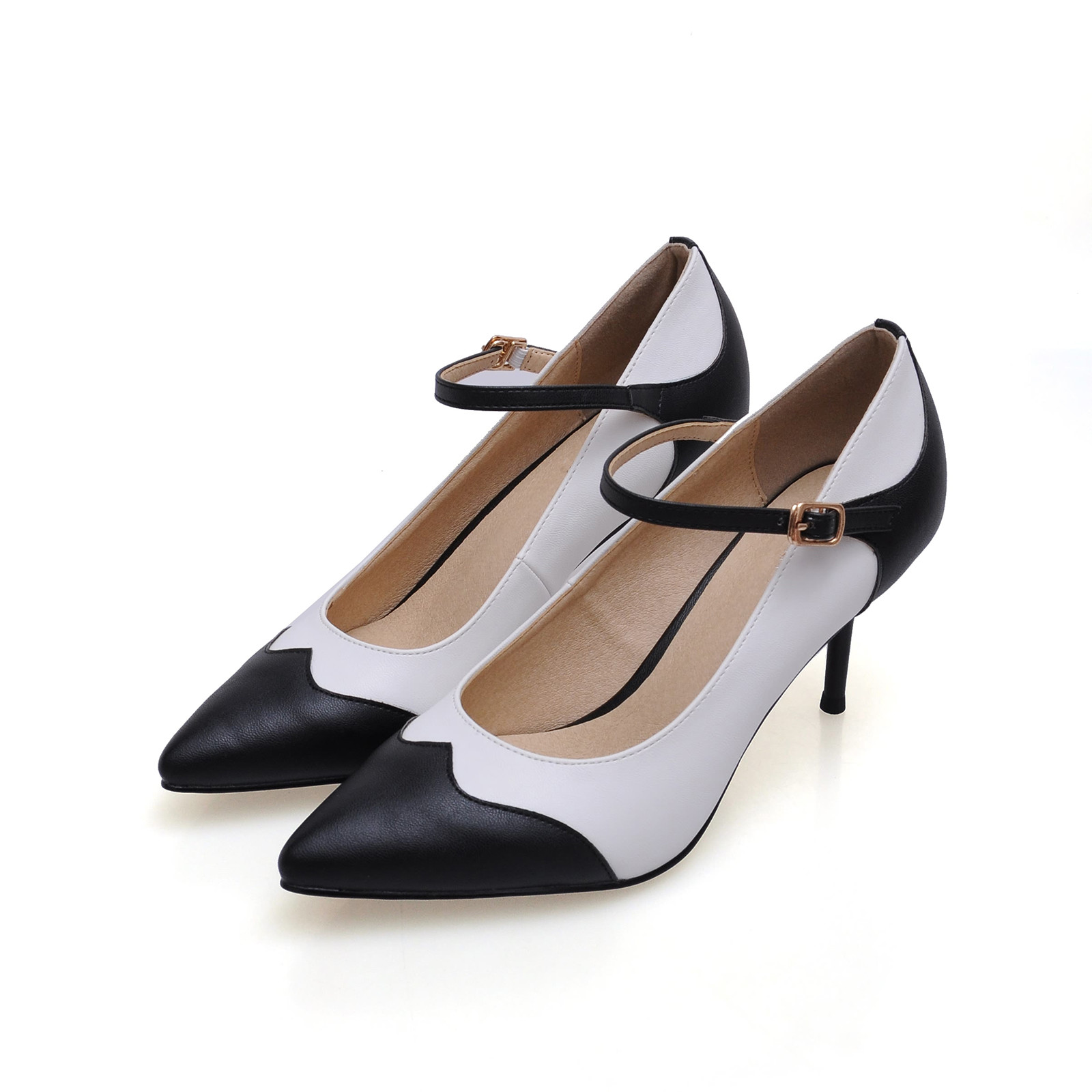 New Fashion Women Pointed Toe Pumps Shoes Big Size Sheepskin Genuine Leather Shoes Mixed Color High Heels Shoes SMYBK-86