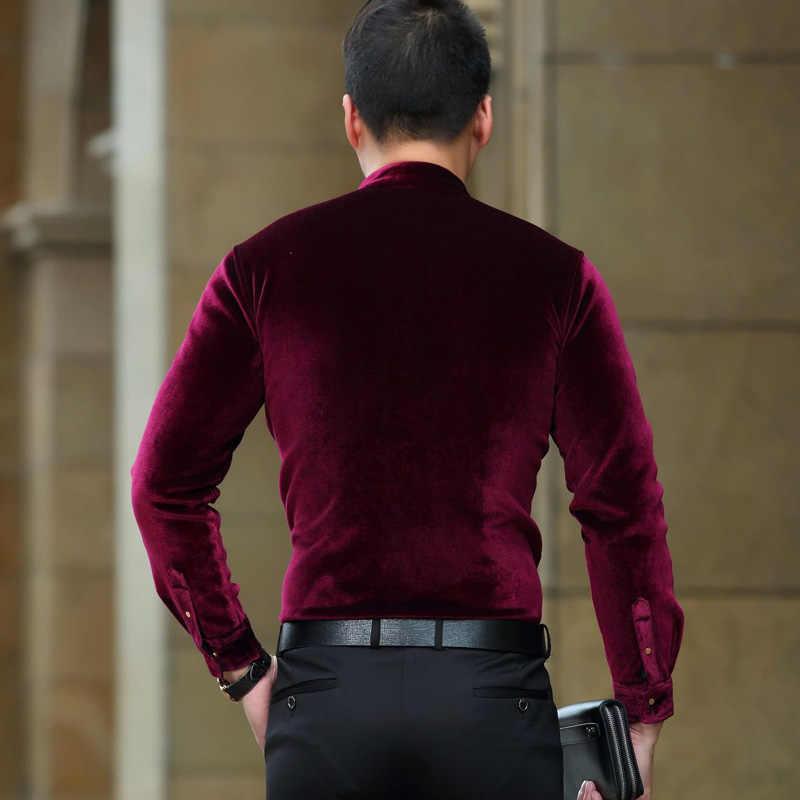 a0cb68488a1 ... Brand Wine Red Stand Collar Velvet Shirt Men 2018 Autumn New Slim Fit  Fleece Lined Soft ...