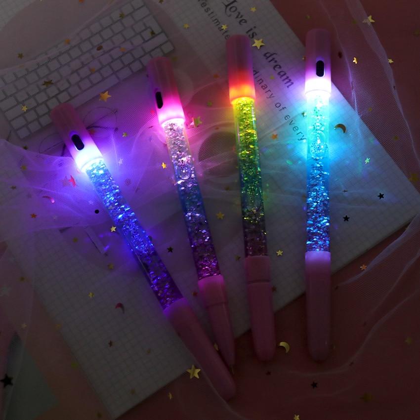 0.35mm Rainbow Creative Color Gel Pen Fairy Stick Gel Pens Drift Sand LED Lamp Glitter Crystal Pen For Girl Gift Stationery