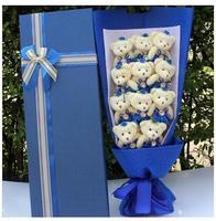 12 개 애니메이션 테디 곰 꽃 상자 장난감 봉제 인형 테디 곰 비누 꽃 상자 발렌